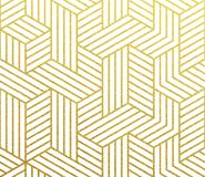 Abstract geometric gold pattern vector background. Geometric golden 3D cubes polygon of lines mesh pattern. Vector abstract gold foil background of seamless vector illustration
