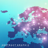 Geometric graphic background communication with Europe Map. Big data complex with compounds. Perspective backdrop Royalty Free Stock Image