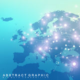 Geometric graphic background communication with Europe Map. Big data complex with compounds. Perspective backdrop Stock Images