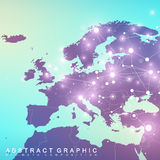 Geometric graphic background communication with Europe Map. Big data complex with compounds. Perspective backdrop Stock Photo