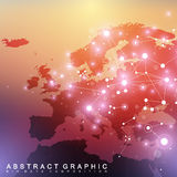 Geometric graphic background communication with Europe Map. Big data complex with compounds. Perspective backdrop Royalty Free Stock Images