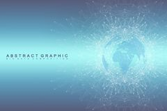 Geometric graphic background communication. Global network connections. Wireframe complex with compounds. Perspective Royalty Free Stock Photos