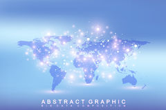Geometric graphic background communication with Political World Map. Big data complex with compounds. Perspective Royalty Free Stock Photos