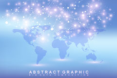 Geometric graphic background communication with Political World Map. Big data complex with compounds. Perspective Stock Photo