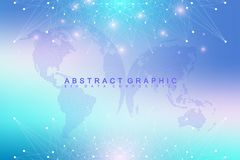 Geometric graphic background communication with World Map. Big data complex with compounds. Perspective backdrop. Minimal array. Digital data visualization Royalty Free Stock Images