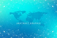 Geometric graphic background communication with World Map. Big data complex with compounds. Perspective backdrop. Minimal array. Digital data visualization Royalty Free Stock Photos