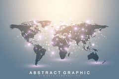 Geometric graphic background communication with World Map. Big data complex with compounds. Perspective backdrop. Minimal array. Digital data visualization Royalty Free Stock Photography