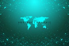 Geometric graphic background communication with World Map. Big data complex with compounds. Perspective backdrop. Minimal array. Digital data visualization Stock Photography