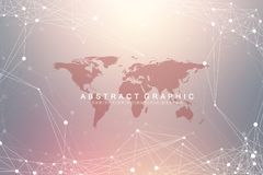 Geometric graphic background communication with World Map. Big data complex with compounds. Perspective backdrop. Minimal array. Digital data visualization Stock Photo
