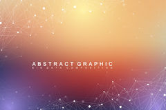 Geometric graphic background molecule and communication. Big data complex Royalty Free Stock Images