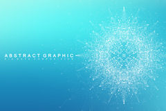 Geometric graphic background molecule and communication. Big data complex with compounds. Perspective backdrop. Minimal. Array Big data. Digital data stock image