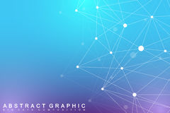 Geometric graphic background molecule and communication. Big data complex  Royalty Free Stock Image