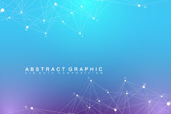 Geometric graphic background molecule and communication. Big data complex with compounds. Perspective backdrop. Minimal Stock Photography