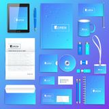 Geometric graphic set of vector corporate identity template. Business stationery mock-up. Scientific cybernetic Stock Photo