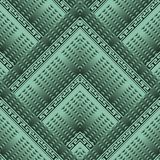 Geometric greek 3d vector seamless pattern. Green ornamental textured background. Tiled geometrical shapes, triangles, rhombus, stripes. Greek key meander vector illustration