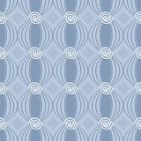 Greek spiral seamless pattern. Geometric greek seamless pattern with abstract floral line art tracery shapes, spiral circles and greek key meander ornaments Stock Photography
