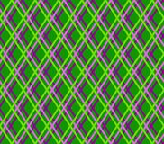 Geometric green background, seamless, fine lines, diamonds, vector. Green, lilac and purple thin lines cross on a green field. Vector decor Stock Images