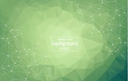Low poly connecting and dots background. Vector tech design. Geometric Green Polygonal background molecule and communication. Connected lines with dots royalty free illustration