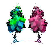 Geometric green. Tree, styling, logo Stock Photos