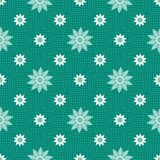 Geometric green and white flower mandalas on textured background seamless vector repeat pattern in an elegant Scandinavian style. Great for home decor stock photo
