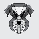 Geometric grey Schnauzer. Geometric grey, black and white polygonal Schnauzer Stock Photos