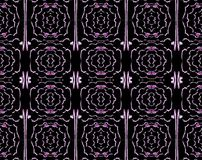 Seamless regular floral ornaments black purple. Geometric grid background, different abstract rose blossoms, seamless pattern, pink shades on black stock illustration