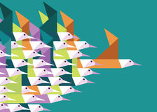Geometric Group of birds. Royalty Free Stock Images