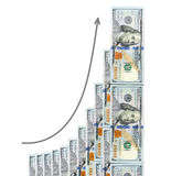 Geometric growth of profit is shown  dollars Stock Photos