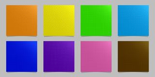 Geometric halftone dot pattern background set - vector stationery graphic design collection from circles. In varying sizes Royalty Free Stock Photos