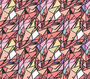 Geometric  hand draw ink patterns . Colorful trend  abstract mosaic backgrounds. Vector illustration  in shades of pink . Royalty Free Stock Photography