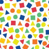 Geometric shapes hand-drawn vector seamless pattern. Scattered squares, triangles, and circles in blue, orange, red, green, and vector illustration
