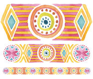 Geometric hand drawn watercolor seamless ornament Royalty Free Stock Photos