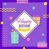 Geometric Happy Birthday Greeting Card. Happy Birthday Greeting Card Template Design with colorful balloon, confetti and gift box Royalty Free Stock Photo