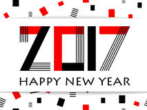Geometric 2017 Happy New Year greeting vector card. On white background with rectangle. Typography text sign Happy New Year and lettering 2017 number. Memphis Royalty Free Stock Image