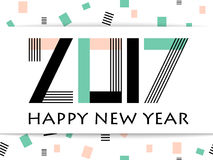 Geometric 2017 Happy New Year greeting vector card. On white background with rectangle. Typography text sign Happy New Year and lettering 2017 number. Memphis Stock Photo