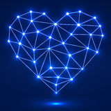 Geometric heart with glowing dots and lines Stock Image