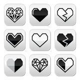Geometric heart for Valentine's Day grey square buttons Royalty Free Stock Photo