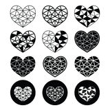 Geometric heart for Valentine's Day icons - love, relationship concept Royalty Free Stock Images