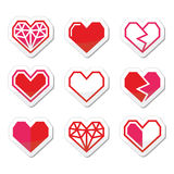 Geometric heart for Valentine's Day icons. Vector icons set of cubic heart shapes isolated on white Royalty Free Stock Photography