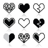 Geometric heart for Valentine's Day icons. Vector icons set of cubic heart shapes  on white Stock Photos