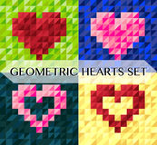 Geometric heart vector cards set Royalty Free Stock Images