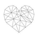 Geometric Heart. Vector minimal wireframe royalty free illustration