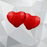 Geometric hearts. Two geometric polygonal hearts on a white background. Vector illustration Stock Image