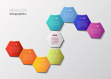 Geometric hexagon infographic concept. Vector infographic scheme with colorful hexagons, polygonal infographics Royalty Free Stock Photo