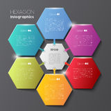 Geometric hexagon infographic concept. Vector infographic scheme with colorful hexagons, polygonal infographics on dark background Royalty Free Stock Photo