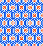 Geometric hexagon seamless pattern. With flowers. Easy color change royalty free illustration