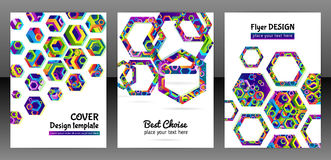 Geometric hexagon shape brochure background. vector illustration