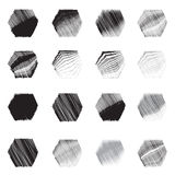 Geometric hexagon shapes icon  sketch set Royalty Free Stock Images