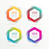 Geometric hexagonal banners set with text space Stock Image