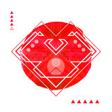 Geometric Hipster Print Heart . Futuristic Line Stock Image
